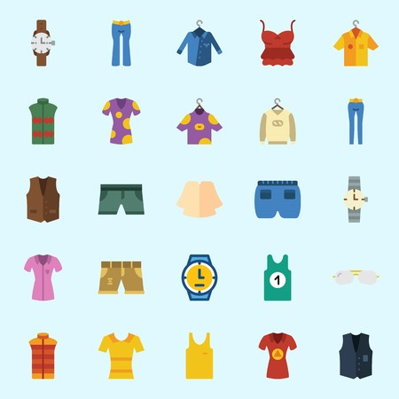 icons set about Man Clothes. with wristwatch, vest, shirt, short, trousers and sweater