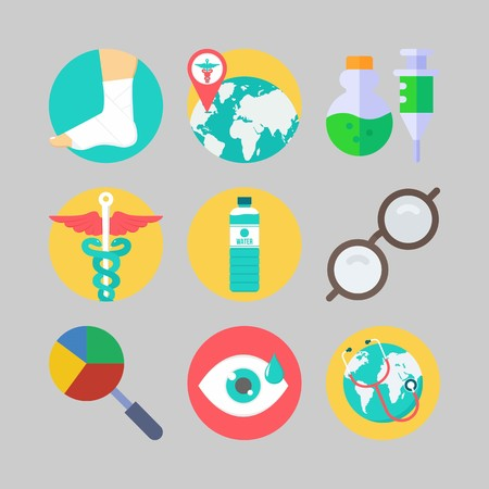 icon set about Medical. with glasses, pharmacy and sprain Illustration
