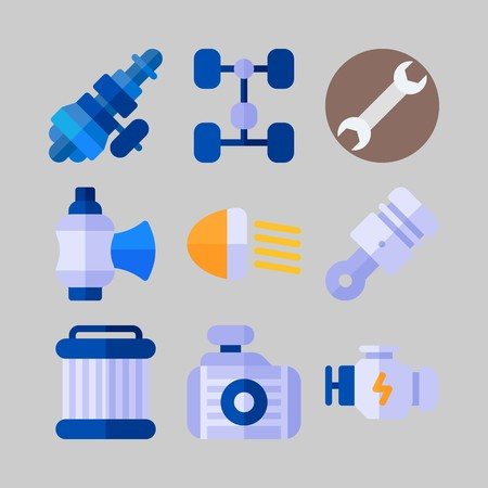 Icon set about Car Engine with valve, chassis and motor