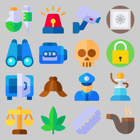 icon set about Crime Investigation. with binocular, justice and razor Illustration