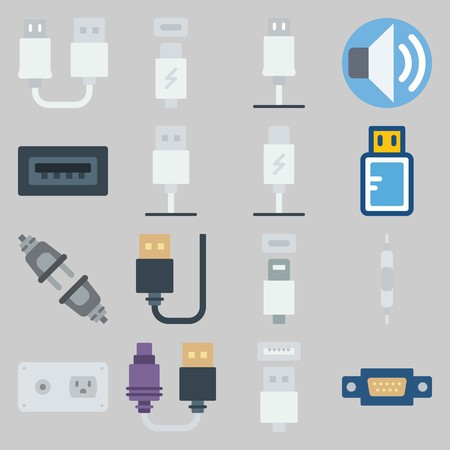 icon set about Connectors Cables. with usb cable, current and usb