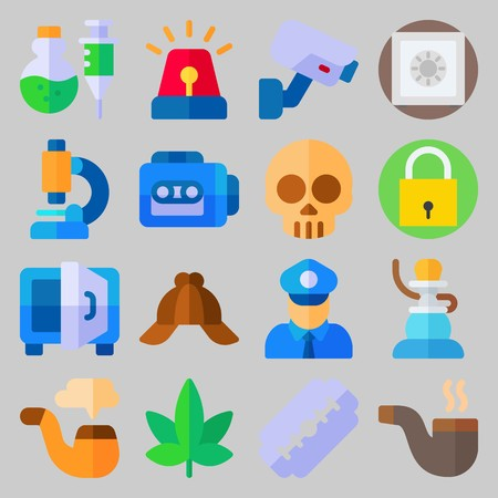 icon set about Crime Investigation. with skull, safebox and padlock
