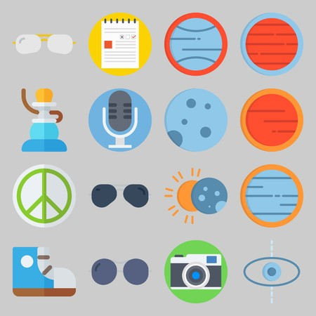 icon set about Hippies. with pacifism, eclipse and planet