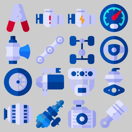 Icon set about Car Engine spare parts Vectores