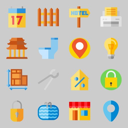 Icons set about Real Assets. with online store, percentage and location