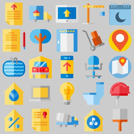 icon set about Real Assets. with location, tools and utensils and file