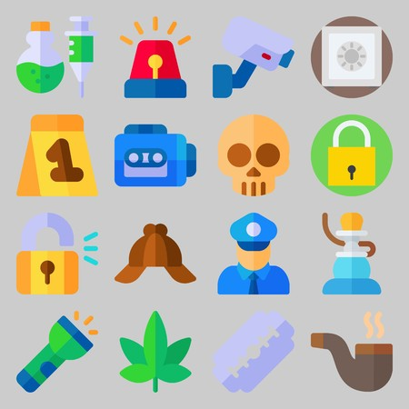 icon set about Crime Investigation. with razor, recorder and safebox