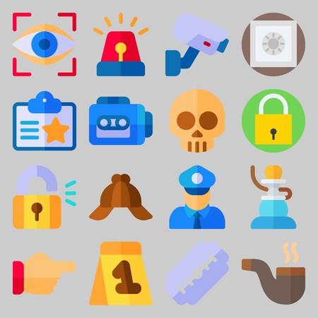 icon set about Crime Investigation. with eye scan, shisha and padlock Illustration
