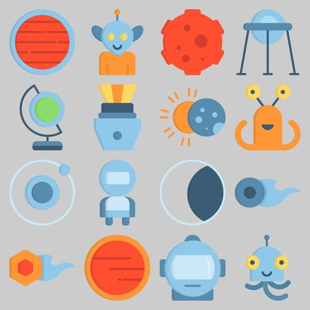 Icon set about Universe with keywords meteorite, moon, astronaut, neptune, comet and alien