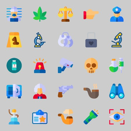 icons set about Crime Investigation. with pipe, safebox, poison, policeman, marijuana and padlock