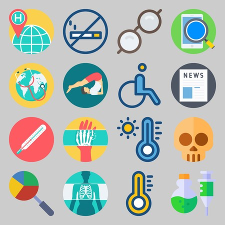 icon set about Medical. with thermometer, glasses and smartphone
