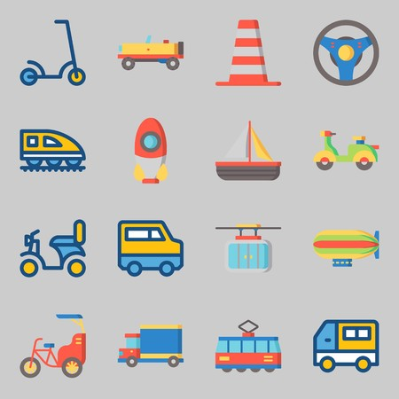 Icons set about Transportation with truck, rocket and zeppelin