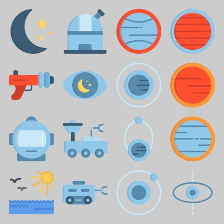 icon set about Univerce. with moon star, astronaut and planet