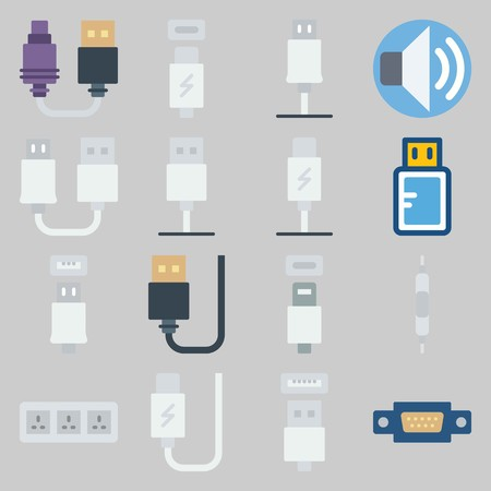 icon set about Connectors Cables. with usb, usb cable and socket