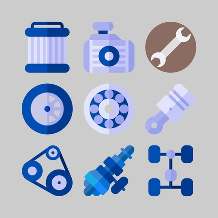 icon set about Car Engine. with radiator, belt and wrench