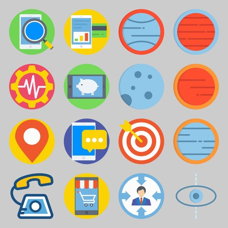 icon set about Transportation. with moon , target and phone Illustration