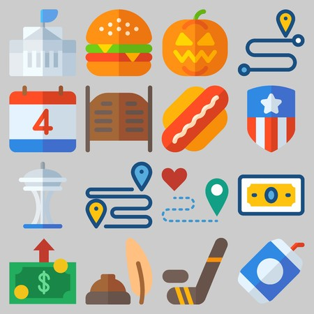 Icon set about United States with keywords hamburger, hot dog, pumpkin, white house, quill and route