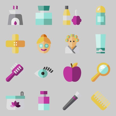 icons set about beauty products and procedures.