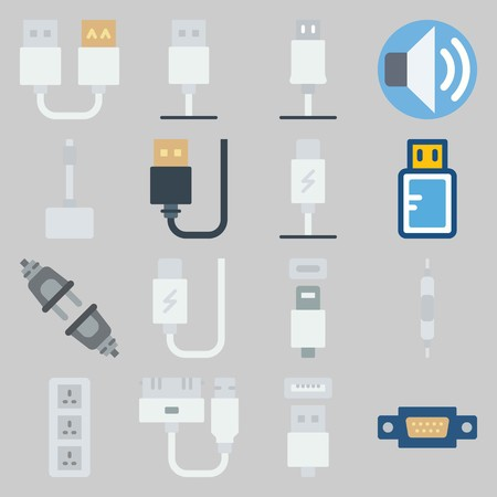 icon set about Connectors Cables. with usb cable, current and volume