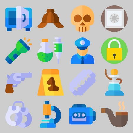 icon set about Crime Investigation. with safe, microscope and cap