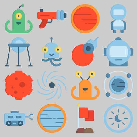 Icon set about Universe with keywords flag, meteorite, blaster, capsule, mars and astronaut Illustration