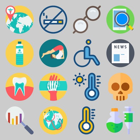 icon set about Medical. with hot, yoga and hand