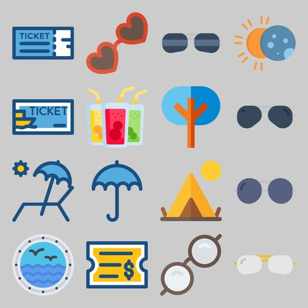icon set about Beach And Cumping. with tent, eclipse and sunbed