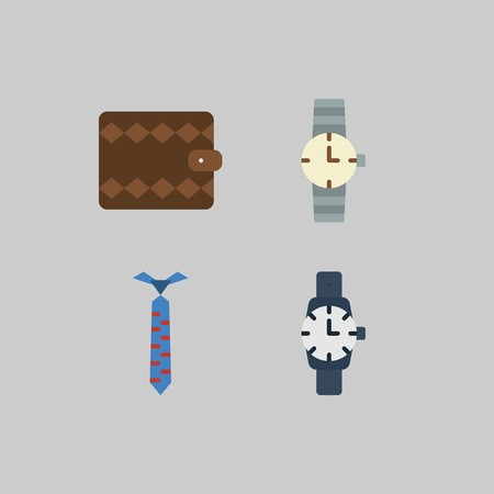 icon set about Man - Clothes. with tie, watch and wallet Çizim
