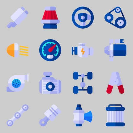 Icons set about Car Engine. with motor, engine and starter Illustration