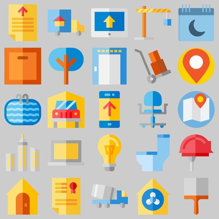 icon set about Real Assets. with helmet, diploma and placeholder