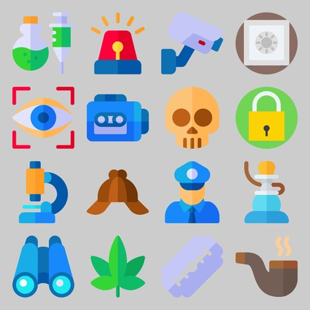 icon set about Crime Investigation. with marijuana, safe and skull Illustration