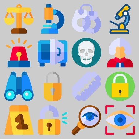 Icon set about Crime Investigation with keywords binoculars, magnifying glass, eye scan, handcruffs, padlock and razor Illustration