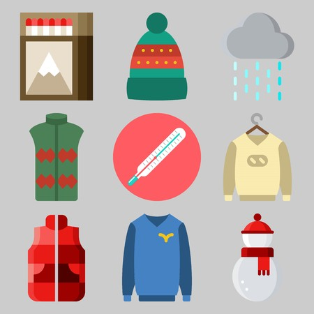 Icons set about Winter with rain, sweater, matches, winter hat, thermometer and snowman Illustration