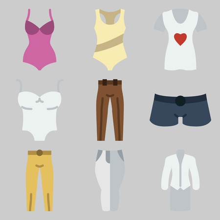 Icon set about Women Clothes with keywords shirt, sleeveless, suit, pants, trousers and shorts