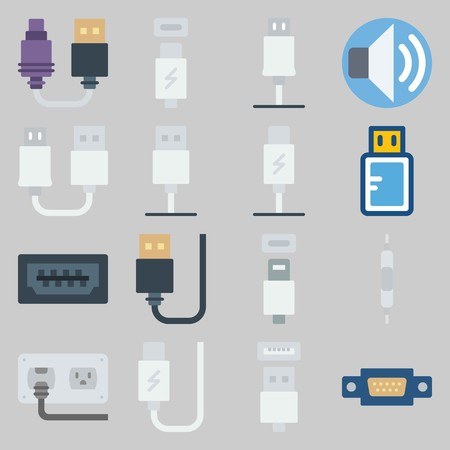 icon set about Connectors Cables. with socket, usb and usb cable