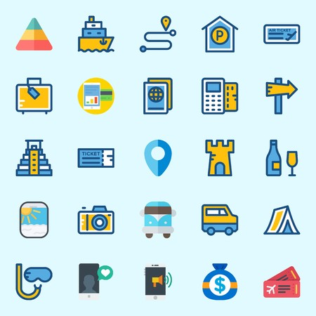 Icons set about Travel with parking, ticket, van, ship, money and smartphone Stock Illustratie