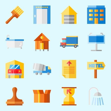 icons set about Real Assets. with packaging, elevator, maps and flags, transportation, hotel and metallic blind