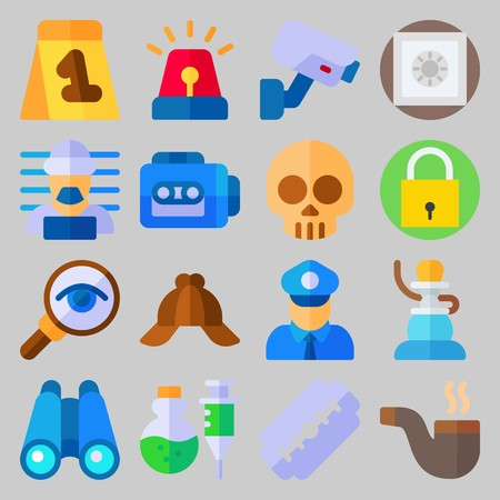 icon set about Crime Investigation. with poison, razor and prisoner