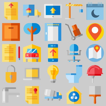 icon set about Real Assets. with diploma, security system and wheel chair Illustration