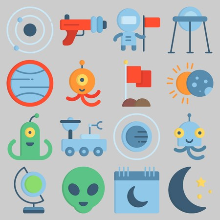 Icon set about Universe with keywords capsule, astronaut, moon, eclipse, calendar and earth glope Illustration