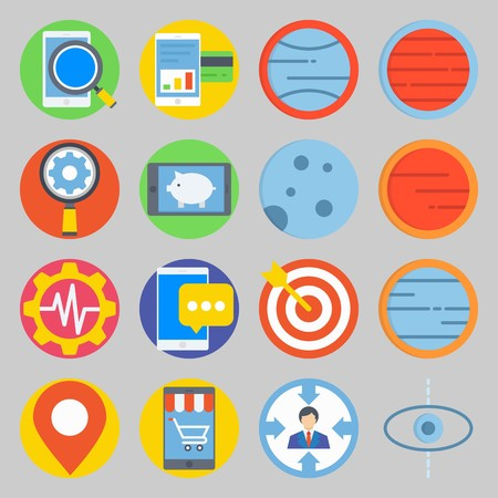icon set about Transportation. with planet, moon  and placeholder Illustration