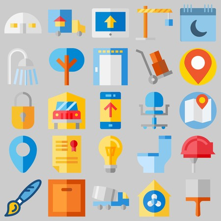 icon set about Real Assets. with location, transportation  and up Illustration