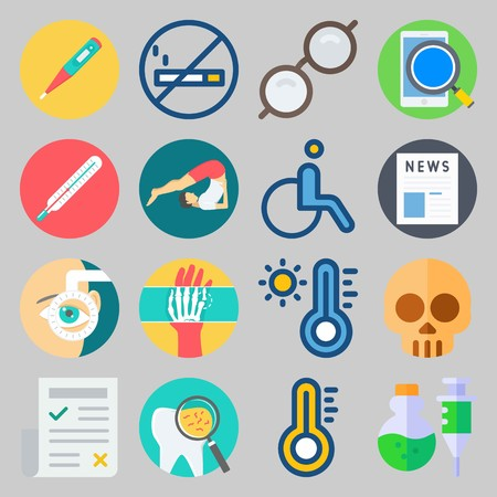 icon set about Medical. with sunglasses, hand and skull