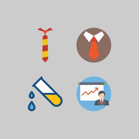 icon set about School And Education. with presentation, test tube and tie