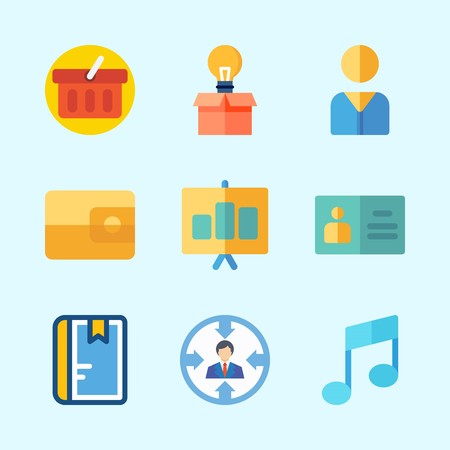 Icons about Business with idea, notebook, presentation, shopping basket, user and note
