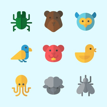 Icons about Animals with chicken, beetle, bird, sheep, owl and mosquito