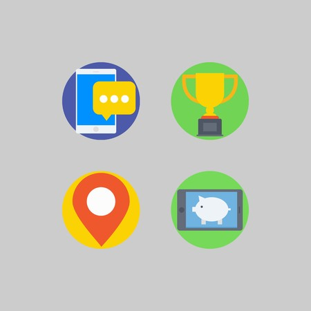 icon set about Romance - Lifestyle. with smartphone, trophy and placeholder