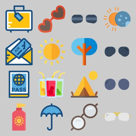 icon set about Beach And Cumping. with passport, suitcase and glasses Illustration