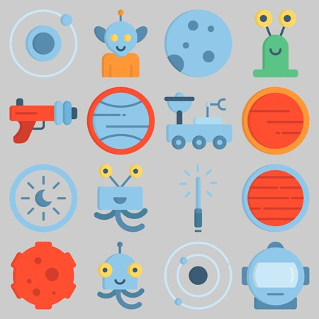 Icon set about Universe with keywords astrology, moon, neptune, meteorite, orbit and blaster Illustration