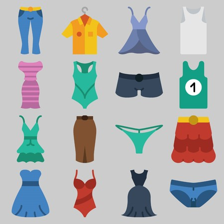 Icon set about Women Clothes with keywords swimsuit, skirt, dress, pants, thong and shorts